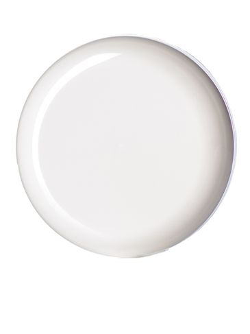 White PP plastic 89-400 dome lid with unprinted pressure sensitive (PS) liner