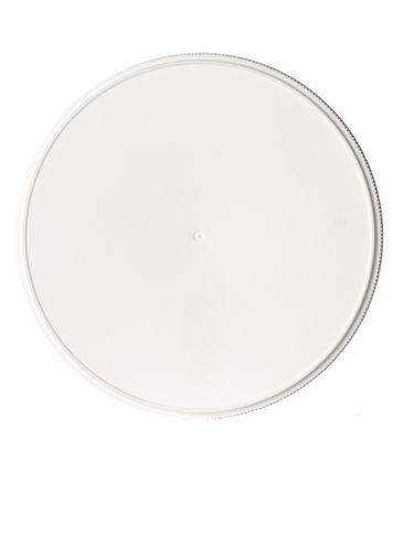 White PP plastic 110-400 ribbed skirt lid with unprinted pressure sensitive (PS) liner