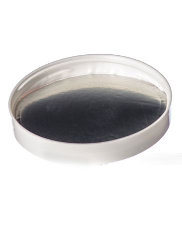 White PP plastic 89-400 smooth skirt lid with printed universal heat induction seal (HIS) liner