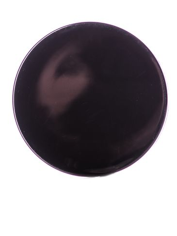 Black PP plastic 89-400 smooth skirt lid with 2-piece printed heat induction seal (HIS) liner