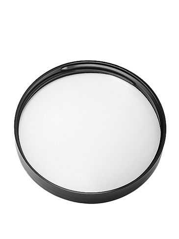 Black PP plastic 89-400 smooth skirt lid with foam liner