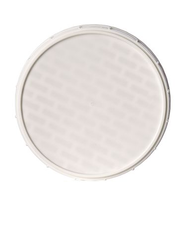 White PP plastic 120 mm ribbed skirt triple-thread lid with printed pressure sensitive (PS) liner