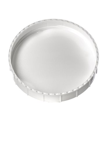 White PP plastic 120 mm triple thread lid with foam liner