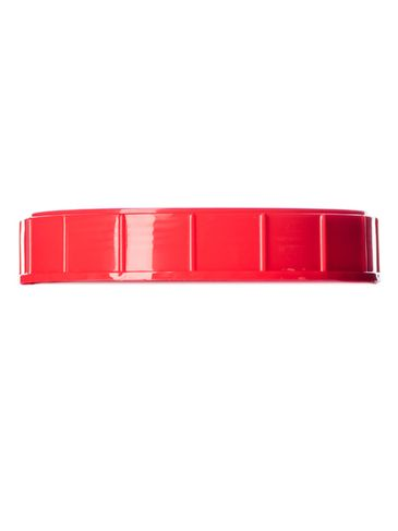 Red PP plastic 120 mm ribbed skirt unlined triple thread lid