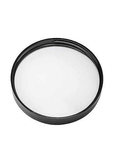 Black PP plastic 70-400 smooth skirt lid with printed pressure sensitive (PS) liner