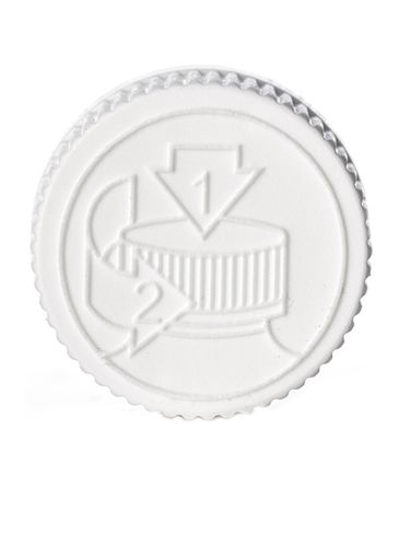White PP plastic 20-400 child-resistant cap with printed universal heat induction seal (HIS) liner