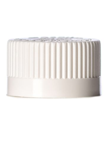 White PP plastic 20-400 child-resistant lid with foam liner