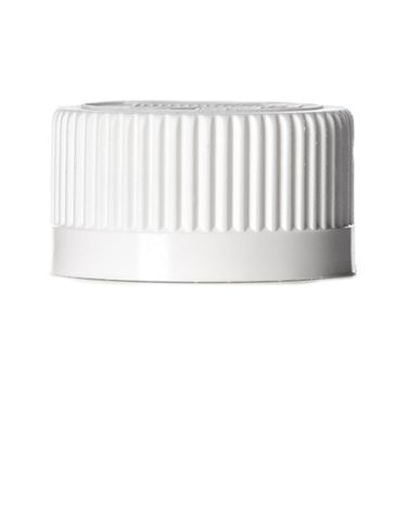 White PP plastic 24-400 child-resistant cap with heat induction seal (HIS) liner (for PET and PVC containers only)