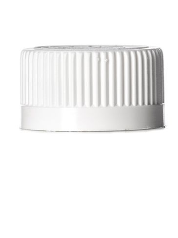 White PP plastic 24-400 child-resistant cap with 2-piece printed universal heat induction seal (HIS) liner