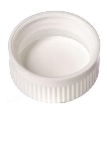 White PP plastic 33-400 child-resistant cap with unprinted pressure sensitive (PS) liner