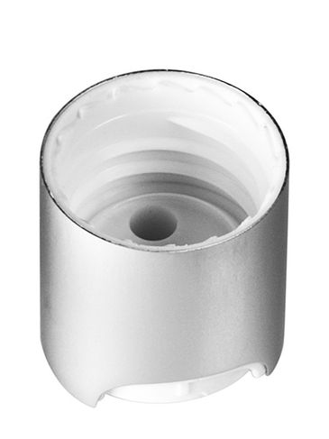 White PP and brushed aluminum shell 20-410 smooth skirt disc top cap