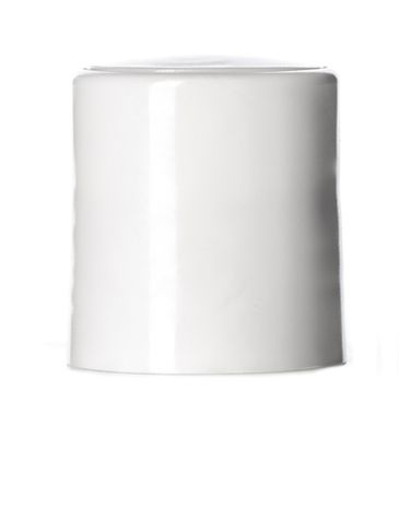 White PP plastic 20-410 smooth skirt disc top cap with printed pressure sensitive (PS) liner
