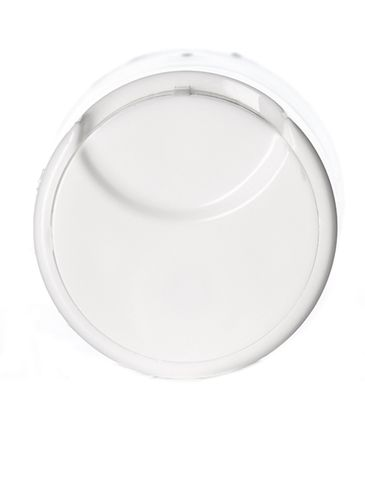 White PP plastic 20-410 smooth skirt unlined disc top lid (0.27 orifice)