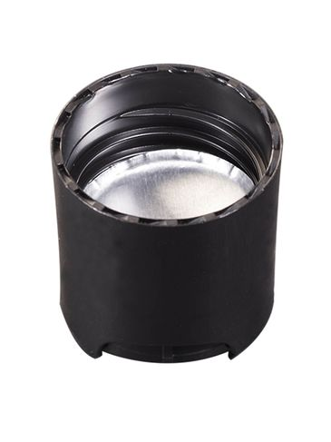 Black PP plastic 24-410 smooth skirt disc top cap with universal heat induction seal (HIS) liner