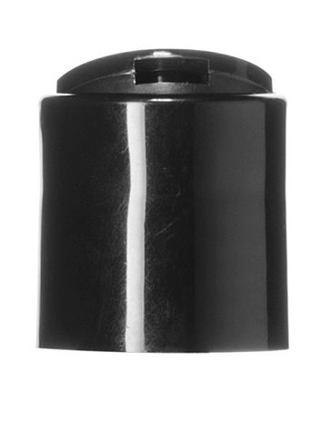 Black PP plastic 24-410 smooth skirt disc top cap with unprinted foil pressure sensitive (PS) liner
