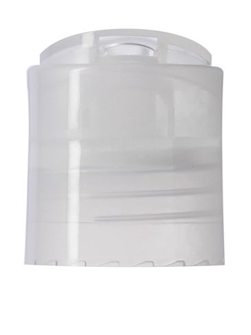 Natural PP plastic 24-410 smooth skirt disc top cap with universal heat induction seal (HIS) liner