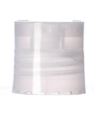 Natural-colored PP plastic 24-410 smooth skirt disc top cap with unprinted pressure sensitive (PS) liner