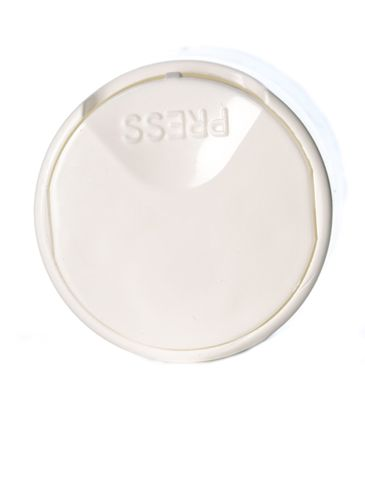 24-410 white PP plastic smooth wall disc top cap with pressure sensitive (PS) liner