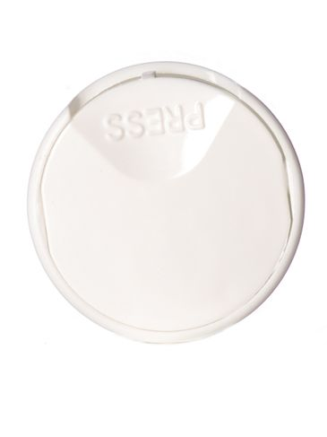 White PP plastic 24-410 smooth skirt unlined disc top cap