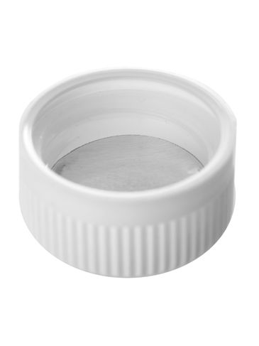 White PP plastic 28-400 child-resistant cap with 2-piece heat induction seal (HIS) liner (for LDPE, MDPE, HDPE containers only)