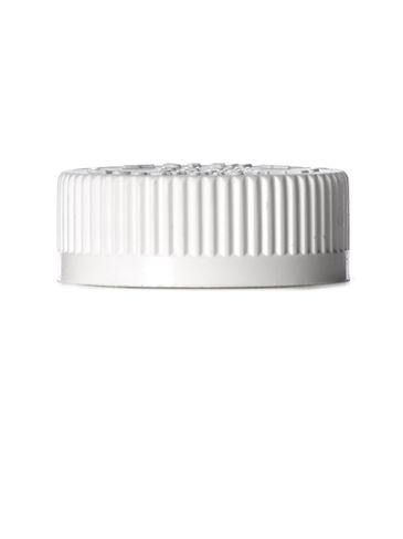 White PP plastic 38-400 child-resistant cap with foam liner and printed pressure sensitive (PS) liner