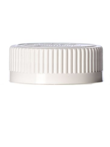 White PP plastic 38-400 child-resistant cap with Lift 'n' Peel heat induction seal (HIS) liner (for HDPE, LDPE, MDPE and PP plastic containers only)
