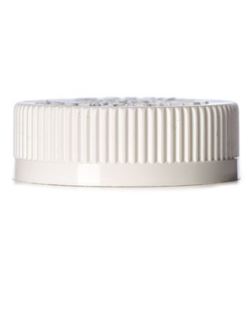 White PP plastic 45-400 child-resistant cap with printed pressure sensitive (PS) liner