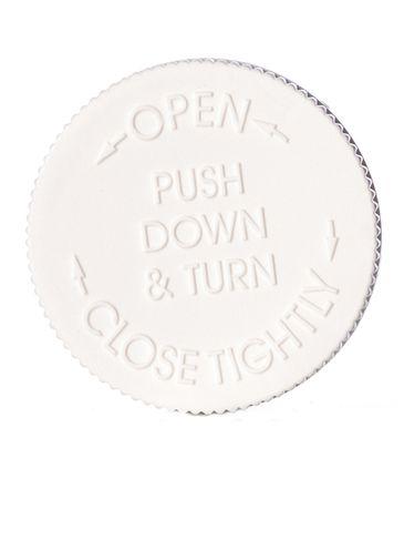 White PP plastic 53-400 child-resistant cap with printed pressure sensitive (PS) liner