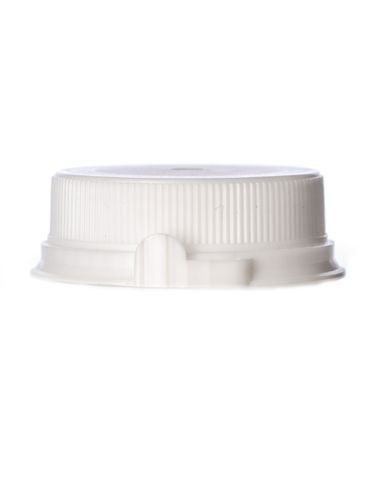 White LDPE plastic 38SS ribbed snap screw tamper-evident dairy lid