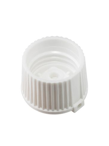 White PP plastic 24-410 ribbed skirt spouted dispensing lid (.13 inch orifice)