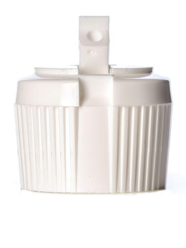 White PP plastic 28-410 ribbed skirt spouted dispensing cap