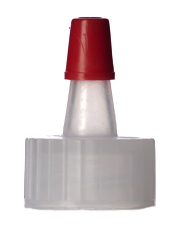 Natural-colored PP plastic 18-400 ribbed skirt yorker spout with red tip