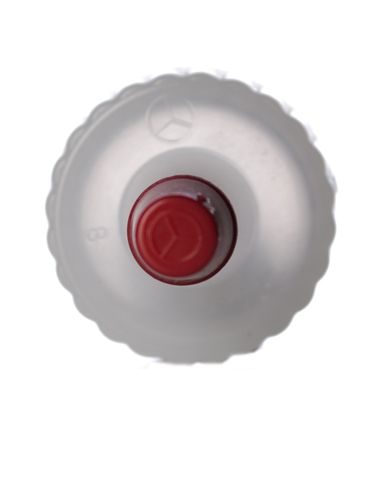 Natural-colored LDPE plastic 20-410 ribbed skirt yorker spout with red tip