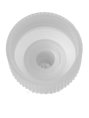 Natural-colored HDPE/LDPE plastic 24-400 ribbed skirt twist-open dispensing unlined lid (.115 inch orifice)