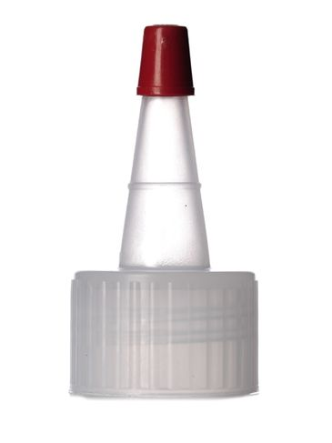 Natural-colored PP plastic 24-410 ribbed skirt yorker spout with red tip