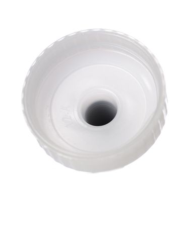 Natural-colored MDPE plastic 38-400 ribbed skirt yorker spout with black tip