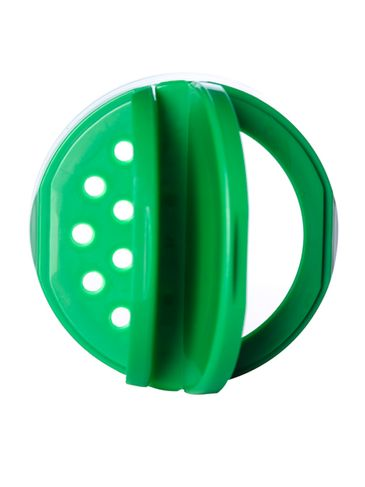 Green PP plastic 53-485 smooth skirt 7-hole flip top sifter spice cap with heat induction seal (HIS) liner