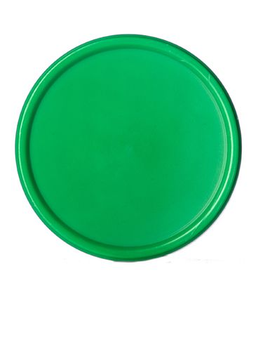 Green PP plastic 53-400 smooth skirt lid with printed pressure sensitive (PS) liner