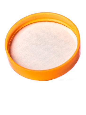 Orange PP plastic 53-400 smooth skirt lid with printed pressure sensitive (PS) liner