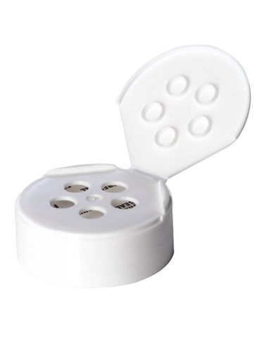 White PP plastic 48-485 smooth skirt 5-hole flip top sifter spice cap with heat induction seal (HIS) liner