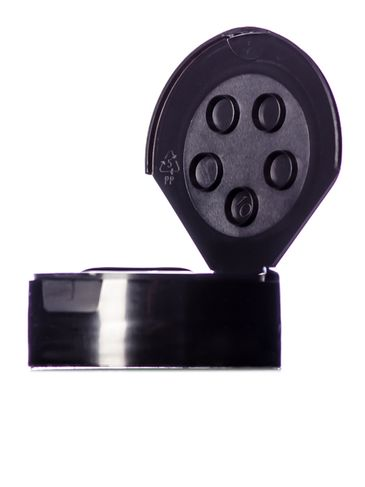 Black PP plastic flip top 5-hole spice cap with heat induction seal liner (HIS) and 48-485 neck finish (0.31 inch orifice)