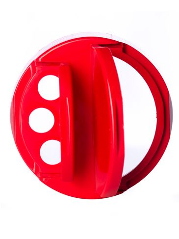 Red PP plastic 63-485 smooth skirt spice sifter lid with heat induction seal (HIS) liner