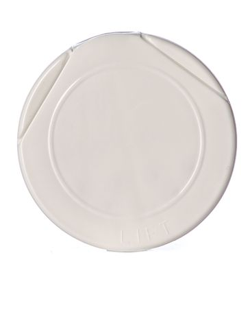 White PP plastic 63-485 smooth skirt 7-hole flip top sifter spice cap with heat induction seal (HIS) liner
