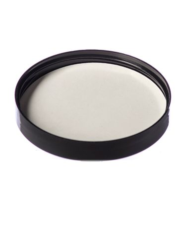 Black PP plastic 89-400 smooth skirt lid with vented heat induction seal (HIS) liner