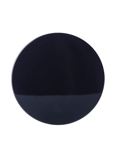 Black PP plastic 89-400 smooth skirt lid with printed heat induction seal (HIS) liner (for PET and PVC containers only)