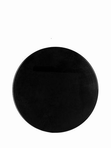 Black PP plastic 89-400 smooth skirt lid with unprinted pressure sensitive (PS) liner