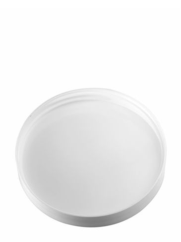 White PP plastic 89-400 smooth skirt lid with foam liner
