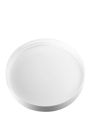 White PP plastic 89-400 smooth skirt lid with unprinted pressure sensitive (PS) liner