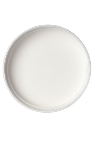White PP plastic 43-400 smooth skirt side gated lid with foam liner