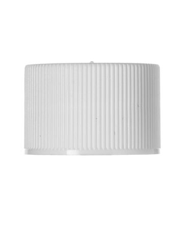 White PP plastic 24-410 ribbed skirt lid with printed universal heat induction seal (HIS) liner